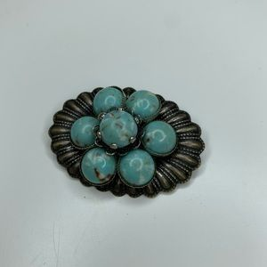 Vintage Costume Jewelry Silver Turquoise Brooch